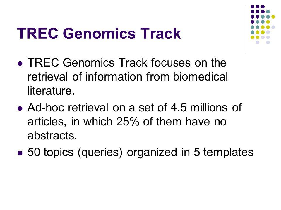 TREC Genomics Track TREC Genomics Track focuses on the retrieval of information from biomedical literature. Ad-hoc retrieval on a set of 4.5 millions