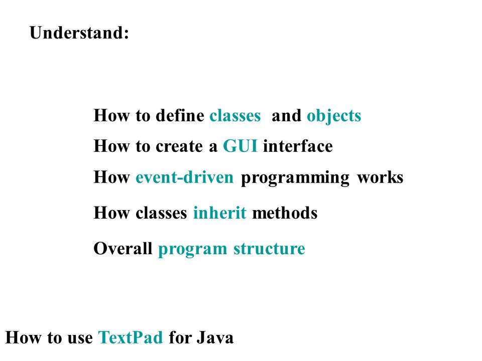 Understand: How to use TextPad for Java How to define classes and objects How to create a GUI interface How event-driven programming works How classes inherit methods Overall program structure