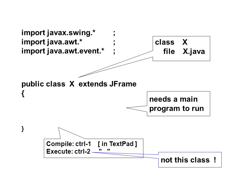 public class X extends JFrame { } import javax.swing.*; import java.awt.*; import java.awt.event.*; needs a main program to run class X file X.java Compile: ctrl-1 [ in TextPad ] Execute: ctrl-2 not this class !