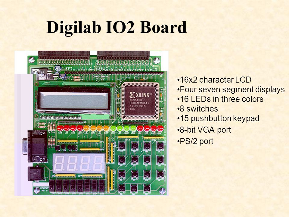 Summary A Forth core has been implemented on a Xilinx Spartan II FPGA This Forth core allows rapid prototyping of the Digilent DIO2 board –Easy access to the LEDs, 7-segment displays, LCD display, switches, and pushbuttons Demonstrated by implementing a simple decimal calculator