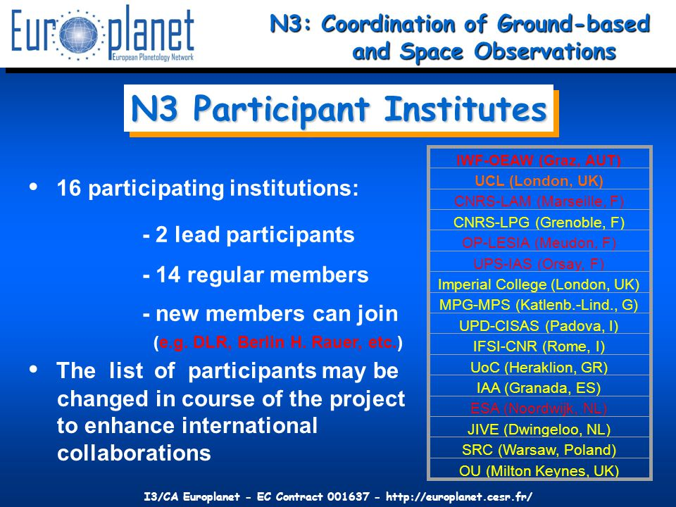 I3/CA Europlanet - EC Contract 001637 - http://europlanet.cesr.fr/ 16 participating institutions: - 2 lead participants - 14 regular members - new members can join (e.g.