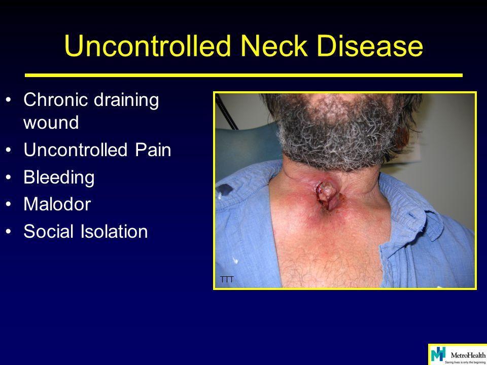 Uncontrolled Neck Disease Chronic draining wound Uncontrolled Pain Bleeding Malodor Social Isolation TTT