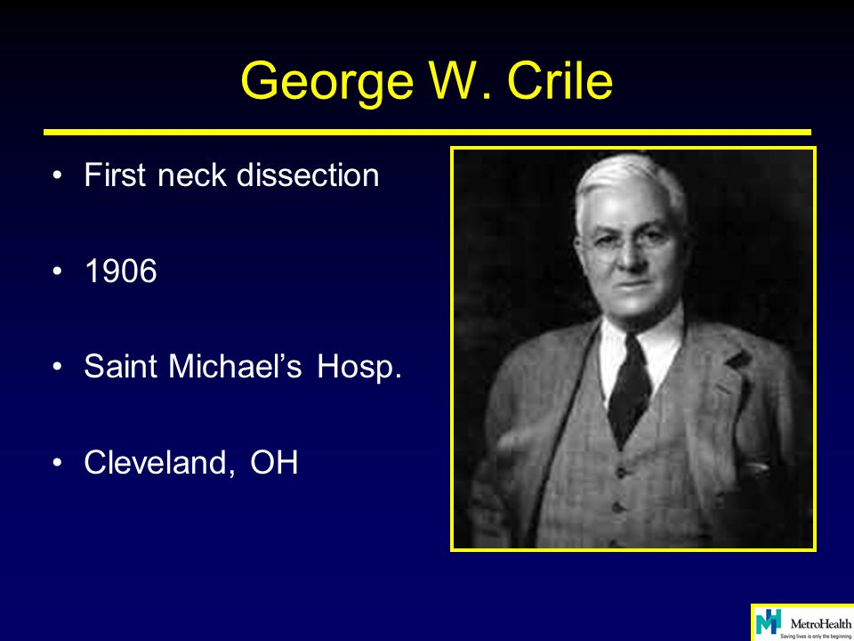 George W. Crile First neck dissection 1906 Saint Michael's Hosp. Cleveland, OH