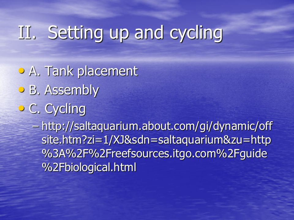 II. Setting up and cycling A. Tank placement A. Tank placement B.