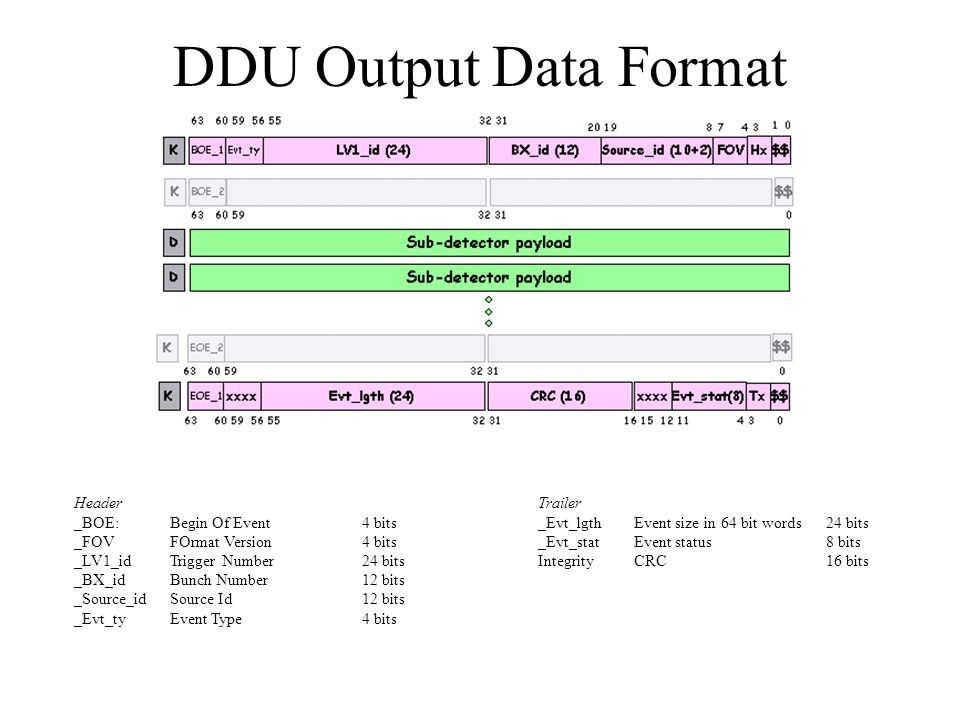 Data Processing in DDU Pedestal Subtraction Common mode noise Subtraction Threshold Comparison Synchronization Check Deconvolution –α = Y1 v0 –β = Y1 v1 + Y2 v0 –γ = Y1 v2 + Y2 v1 + Y3 v0 Charge Extraction –Q = W1 v1 + W2 v2 Data concentration and output formatting
