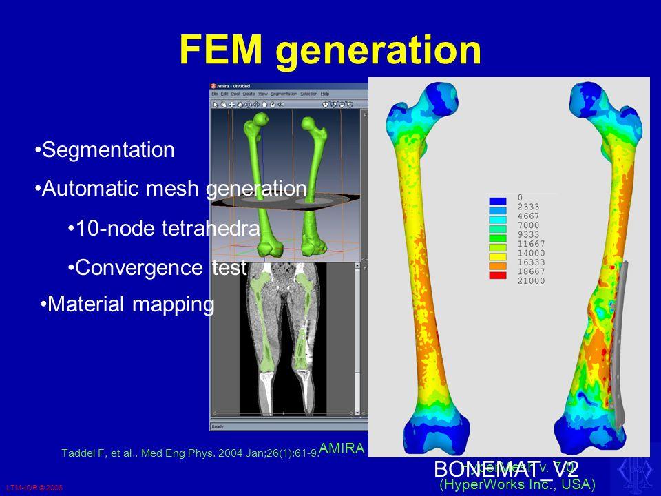 LTM-IOR © 2006 FEM generation AMIRA v. 4.0 (Amiravis Inc, USA) HyperMesh v.
