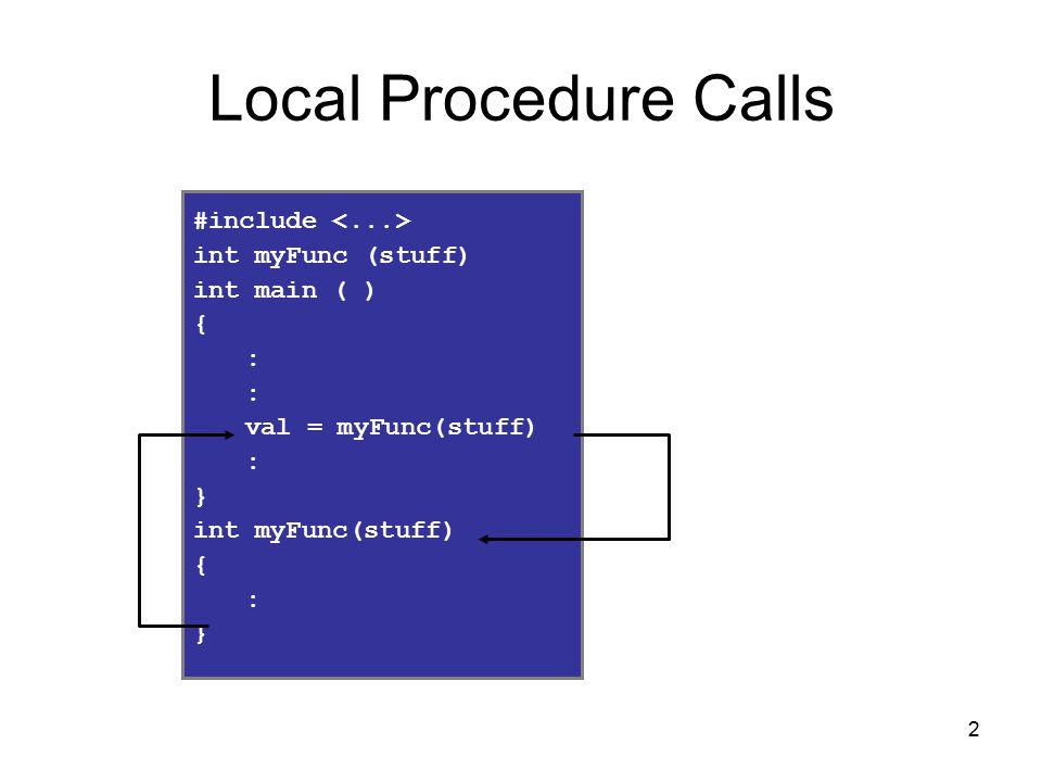 2 Local Procedure Calls #include int myFunc (stuff) int main ( ) { : val = myFunc(stuff) : } int myFunc(stuff) { : }