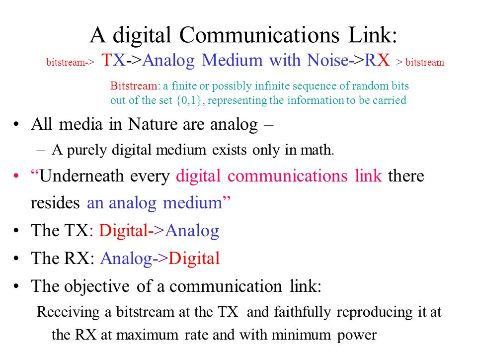 A digital Communications Link: bitstream-> TX->Analog Medium with Noise->RX > bitstream All media in Nature are analog – –A purely digital medium exis