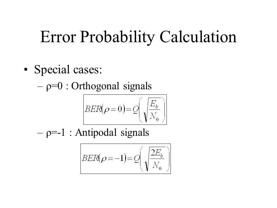 Error Probability Calculation Special cases: –ρ=0 : Orthogonal signals –ρ=-1 : Antipodal signals