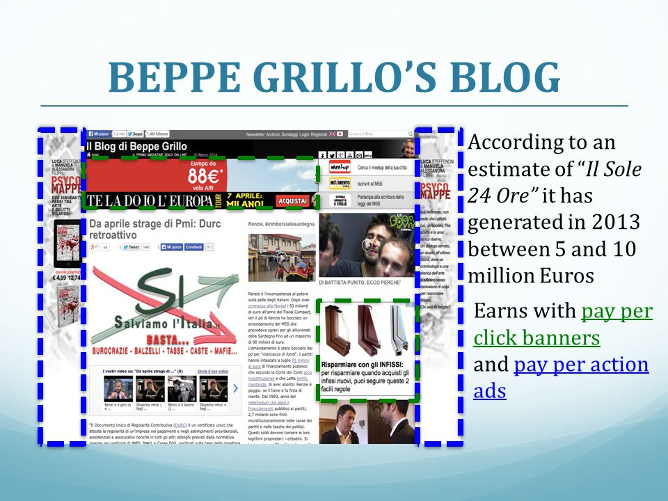 BEPPE GRILLO'S BLOG Earns with pay per click banners and pay per action ads According to an estimate of Il Sole 24 Ore it has generated in 2013 between 5 and 10 million Euros