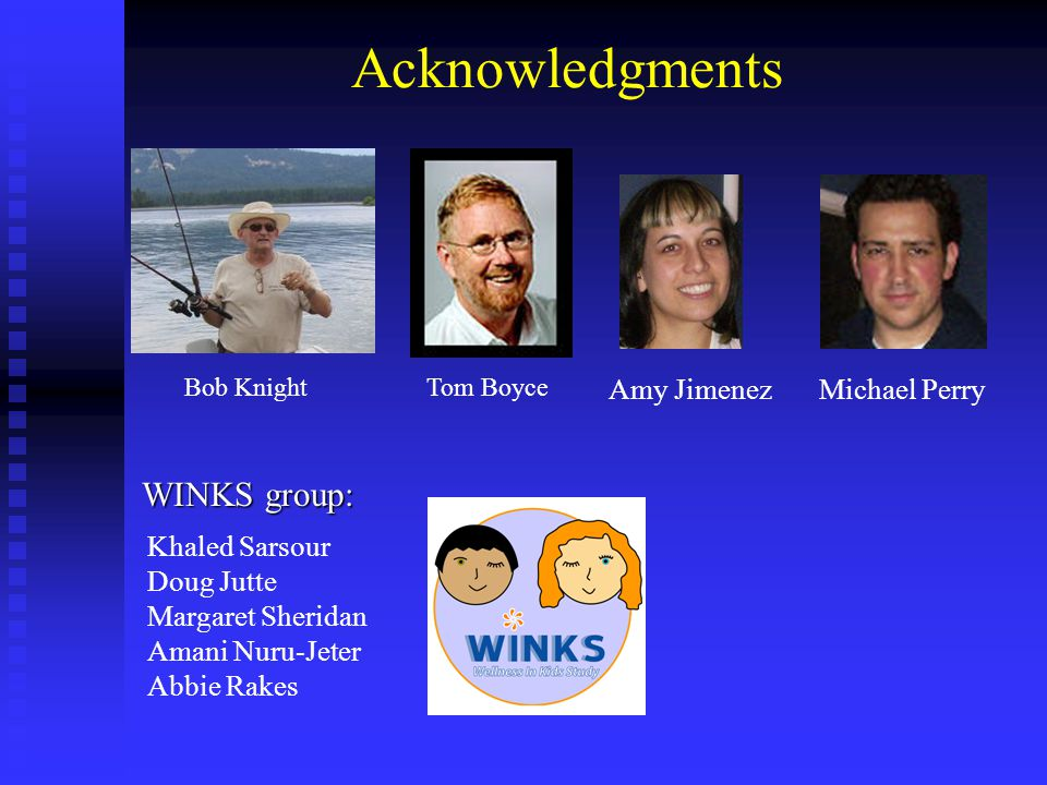 Acknowledgments WINKS group: Khaled Sarsour Doug Jutte Margaret Sheridan Amani Nuru-Jeter Abbie Rakes Bob KnightTom Boyce Michael PerryAmy Jimenez