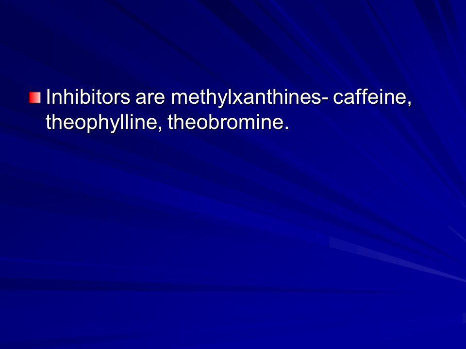 Inhibitors are methylxanthines- caffeine, theophylline, theobromine.