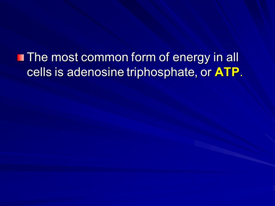 The most common form of energy in all cells is adenosine triphosphate, or ATP.