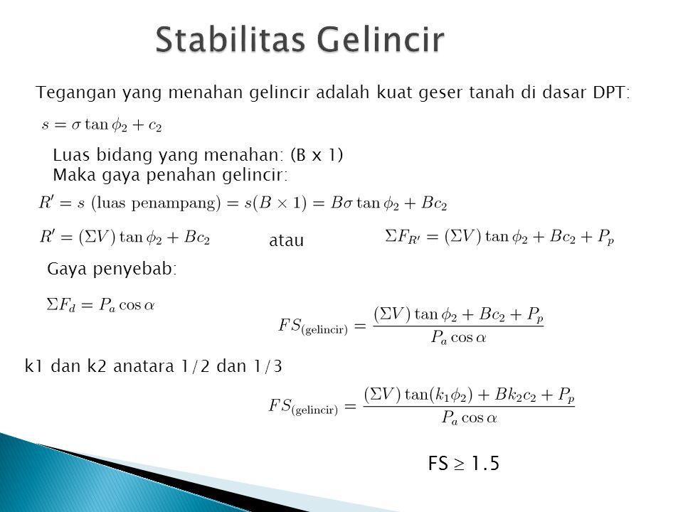 FS  1.5 k1 dan k2 anatara 1/2 dan 1/3 Tegangan yang menahan gelincir adalah kuat geser tanah di dasar DPT: Luas bidang yang menahan: (B x 1) Maka gay