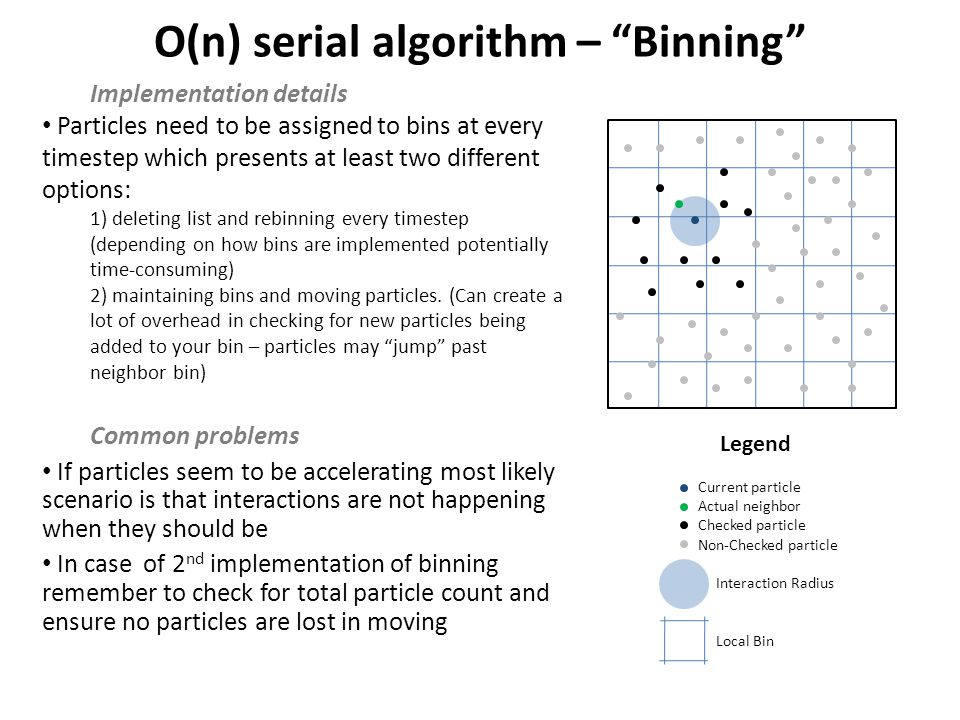 O(n) serial algorithm – Binning Implementation details Particles need to be assigned to bins at every timestep which presents at least two different options: 1) deleting list and rebinning every timestep (depending on how bins are implemented potentially time-consuming) 2) maintaining bins and moving particles.