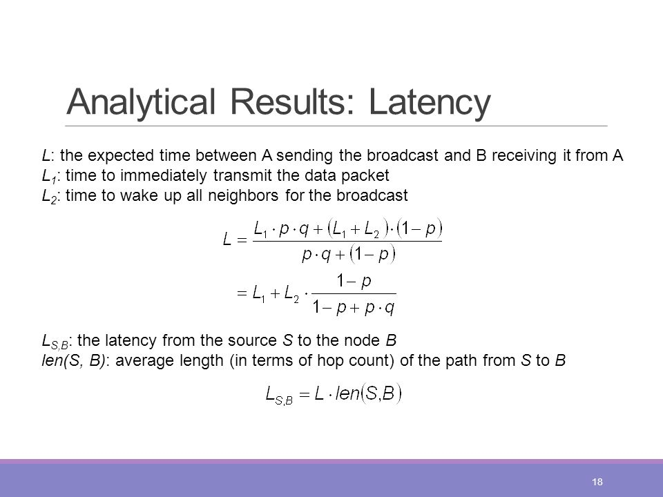 Analytical Results: Latency 18 L: the expected time between A sending the broadcast and B receiving it from A L 1 : time to immediately transmit the d