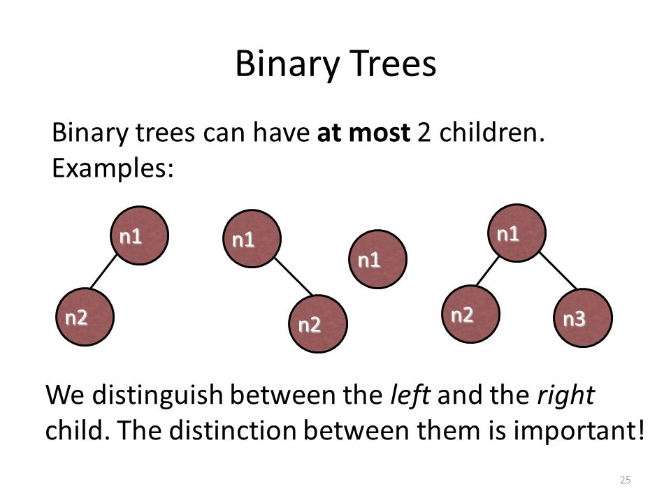 Binary Trees Binary trees can have at most 2 children. Examples: n2 n1 n1 n2 n1 We distinguish between the left and the right child. The distinction b