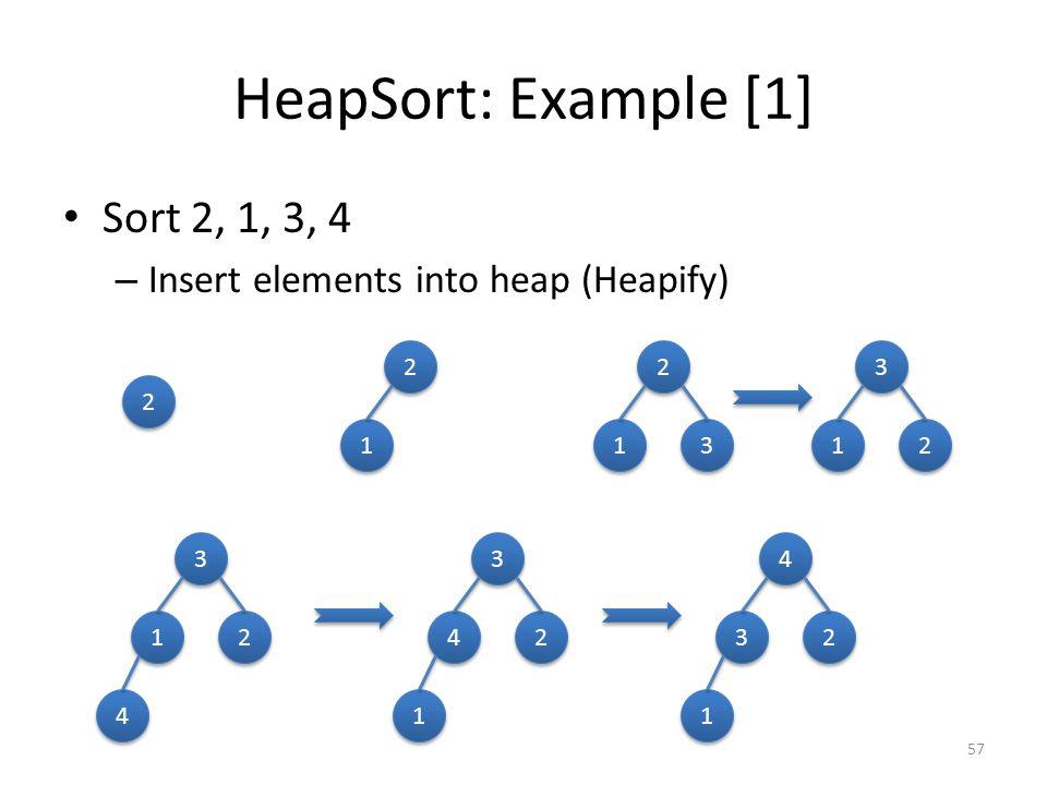 HeapSort: Example [1] Sort 2, 1, 3, 4 – Insert elements into heap (Heapify) 57 2 2 2 2 1 1 2 2 1 1 3 3 3 3 1 1 2 2 3 3 1 1 2 2 4 4 3 3 4 4 2 2 1 1 4 4