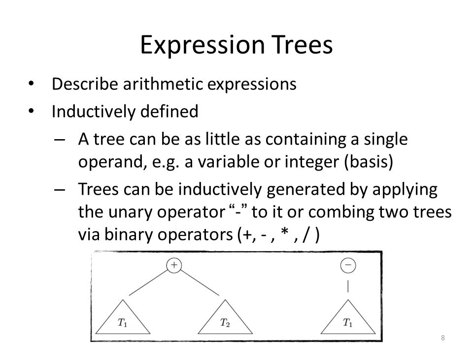 Expression Trees Describe arithmetic expressions Inductively defined – A tree can be as little as containing a single operand, e.g. a variable or inte