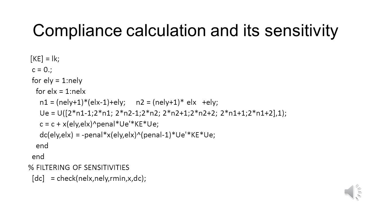 Finite element function function [U]=FE(nelx,nely,x,penal) [KE] = lk; K = sparse(2*(nelx+1)*(nely+1), 2*(nelx+1)*(nely+1)); F = sparse(2*(nely+1)*(nel