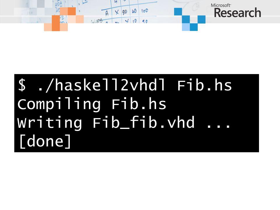 $./haskell2vhdl Fib.hs Compiling Fib.hs Writing Fib_fib.vhd... [done]