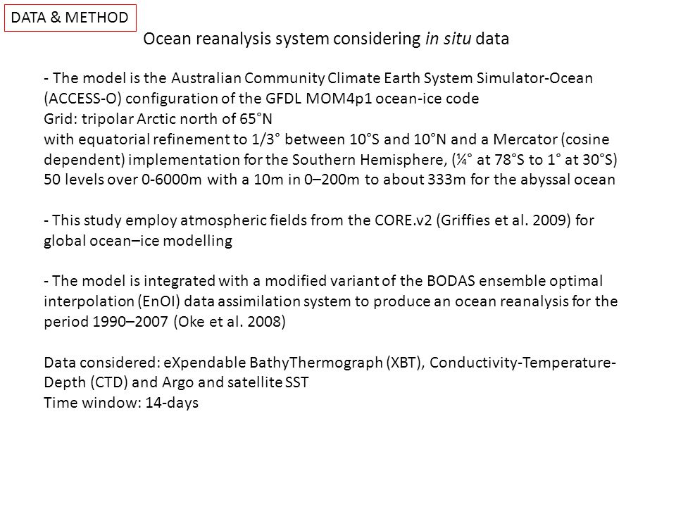 DATA & METHOD Ocean reanalysis system with in situ data Time evolution for background salinity innovations (difference between 1 month forecast and verifying analysis) through the upper 1000m along the Pacific averaged over 30S-30N degrees of latitude about the equator.