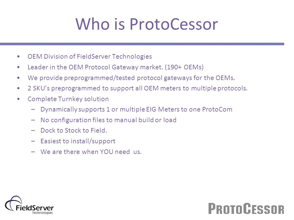Who is ProtoCessor OEM Division of FieldServer Technologies Leader in the OEM Protocol Gateway market.