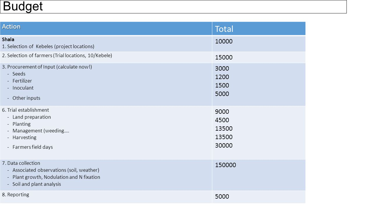 Budget Action Total Shala 1.Selection of Kebeles (project locations) 10000 2.