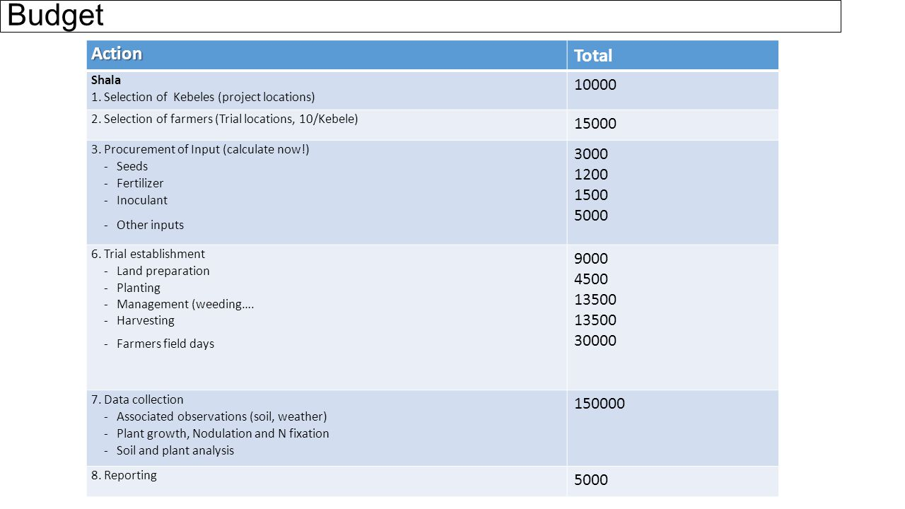 Budget Action Total Shala 1. Selection of Kebeles (project locations) 10000 2.