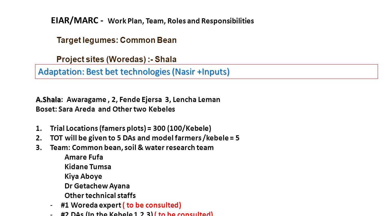 Target legumes: Common Bean Project sites (Woredas) :- Shala EIAR/MARC - Work Plan, Team, Roles and Responsibilities A.Shala A.Shala: Awaragame, 2, Fende Ejersa 3, Lencha Leman Boset: Sara Areda and Other two Kebeles 1.Trial Locations (famers plots) = 300 (100/Kebele) 2.TOT will be given to 5 DAs and model farmers /kebele = 5 3.Team: Common bean, soil & water research team Amare Fufa Kidane Tumsa Kiya Aboye Dr Getachew Ayana Other technical staffs -#1 Woreda expert ( to be consulted) -#2 DAs (In the Kebele 1,2,3) ( to be consulted) Adaptation: Best bet technologies (Nasir +Inputs)