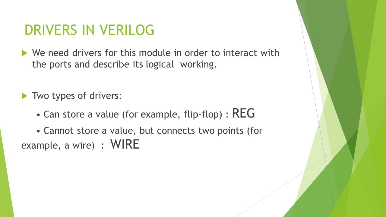 DRIVERS IN VERILOG  We need drivers for this module in order to interact with the ports and describe its logical working.