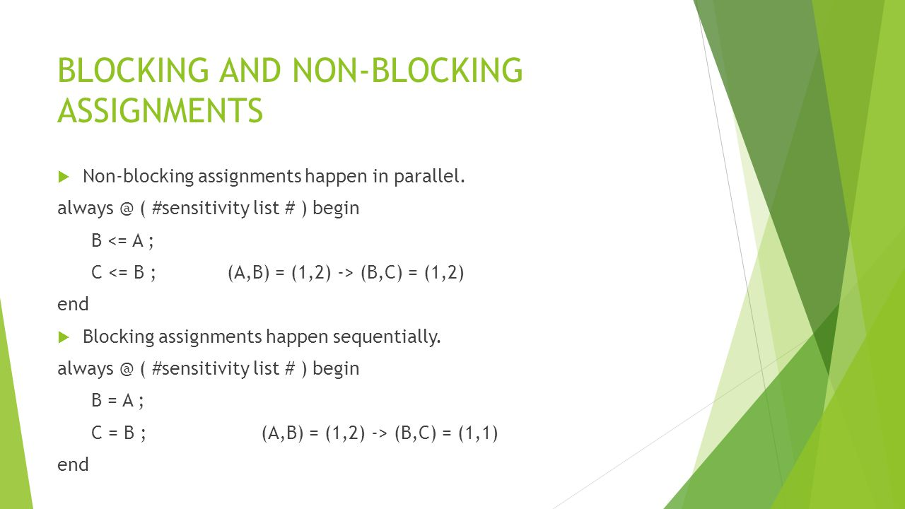 BLOCKING AND NON-BLOCKING ASSIGNMENTS  Non-blocking assignments happen in parallel.