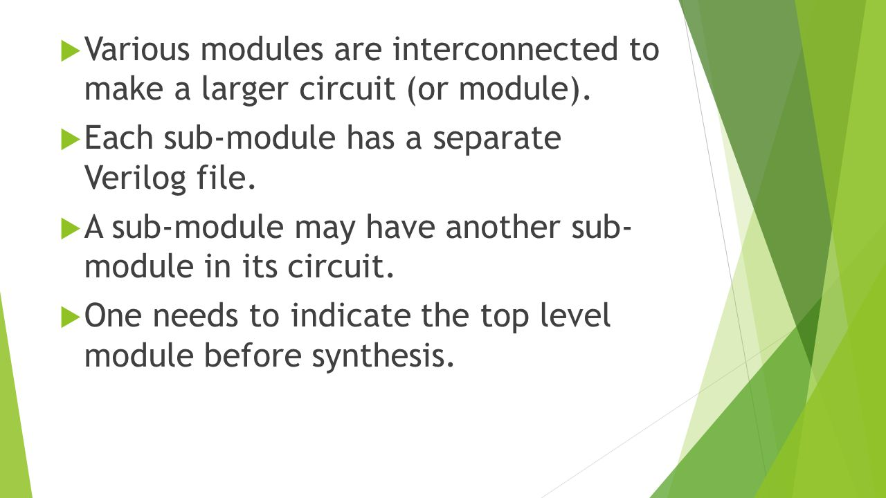  Various modules are interconnected to make a larger circuit (or module).