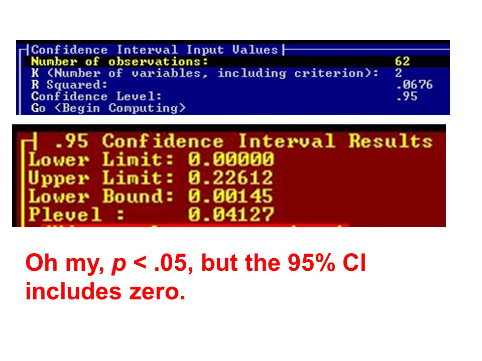 Oh my, p <.05, but the 95% CI includes zero.