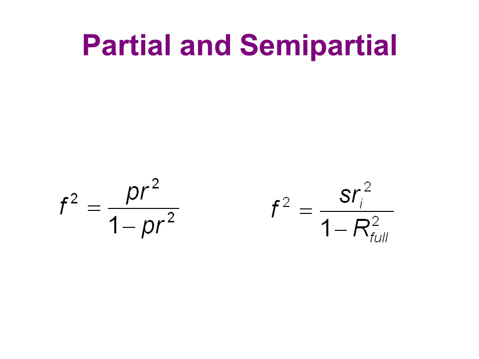 Partial and Semipartial