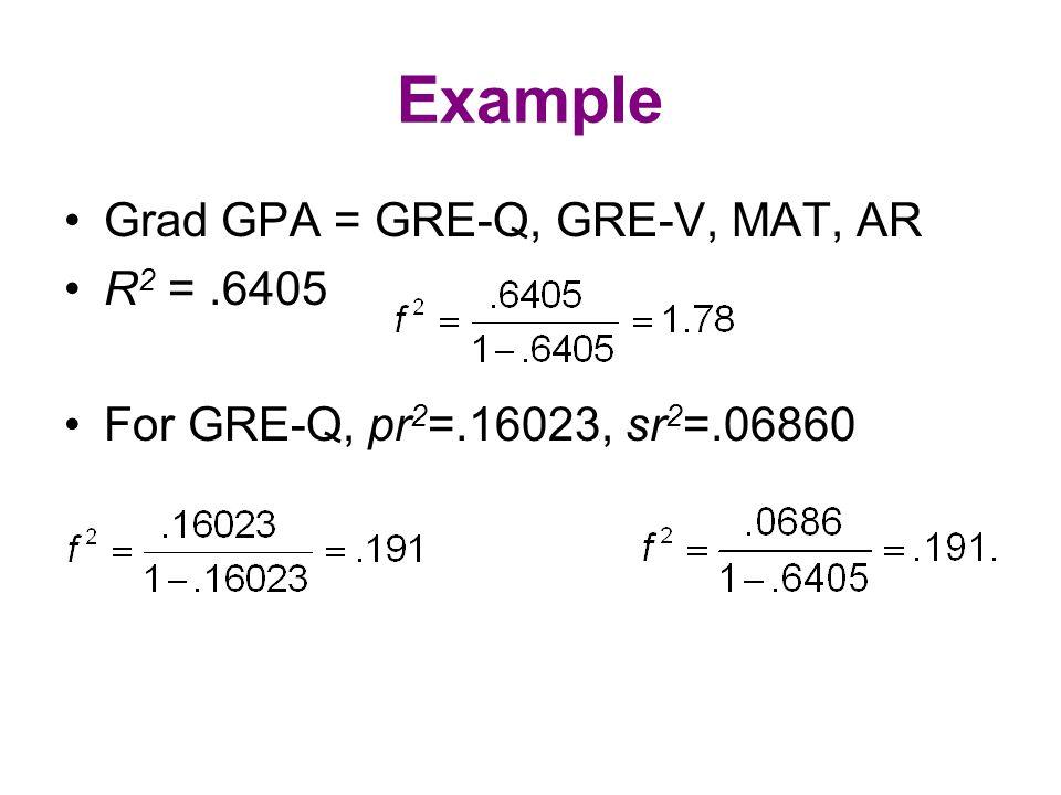 Example Grad GPA = GRE-Q, GRE-V, MAT, AR R 2 =.6405 For GRE-Q, pr 2 =.16023, sr 2 =.06860