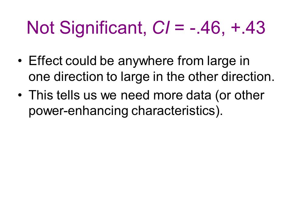 Not Significant, CI = -.46, +.43 Effect could be anywhere from large in one direction to large in the other direction. This tells us we need more data