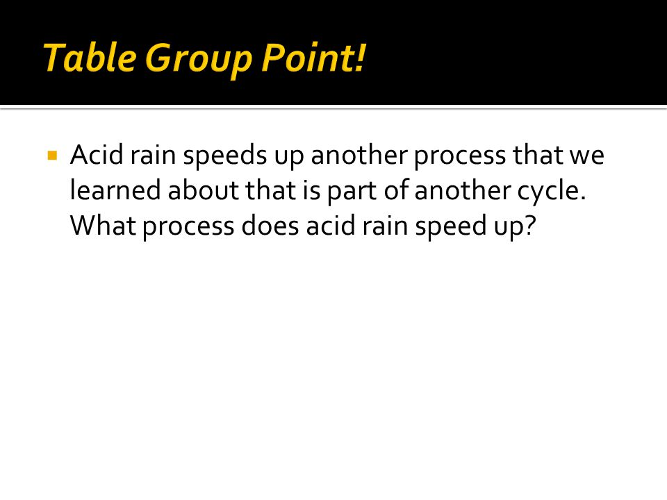  Acid rain speeds up another process that we learned about that is part of another cycle.