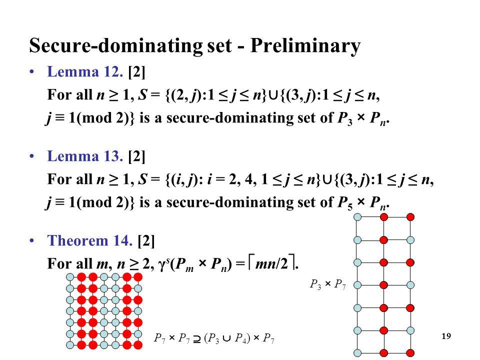 19 Secure-dominating set - Preliminary Lemma 12. [2] For all n ≥ 1, S = {(2, j):1 ≤ j ≤ n} ∪ {(3, j):1 ≤ j ≤ n, j ≡ 1(mod 2)} is a secure-dominating s