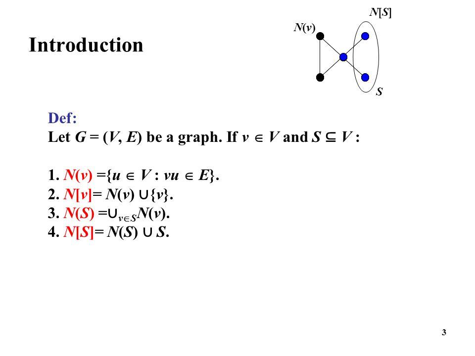 3 N(v)N(v) Introduction Def: Let G = (V, E) be a graph. If v  V and S ⊆ V : 1. N(v) ={u  V : vu  E}. 2. N[v]= N(v) ∪ {v}. 3. N(S) = ∪ v  S N(v). 4