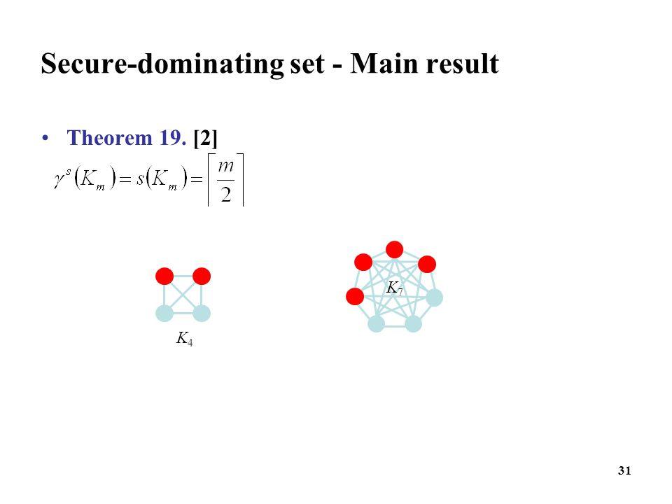 31 Secure-dominating set - Main result Theorem 19. [2] K4K4 K7K7