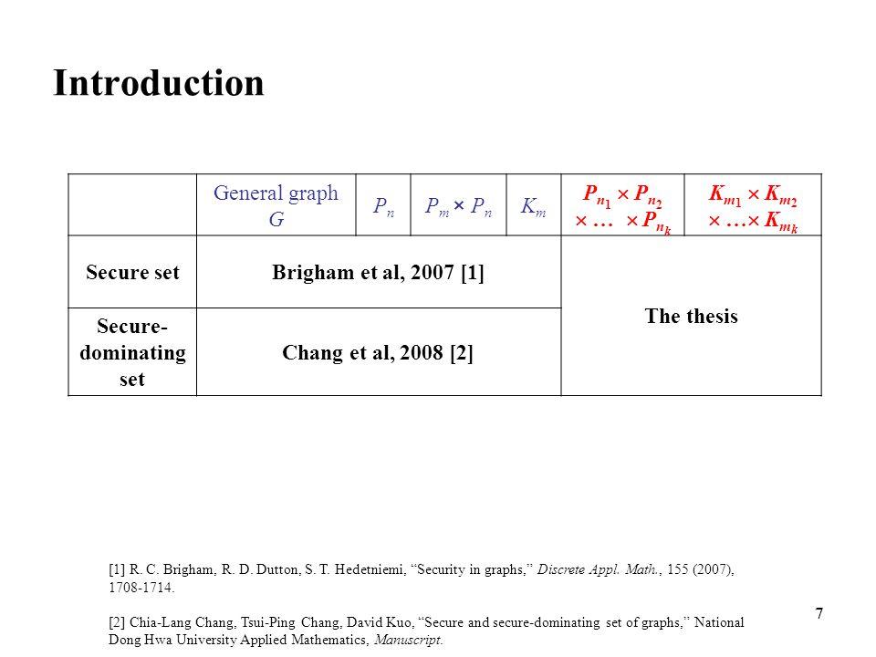 7 Introduction General graph G PnPn P m × P n KmKm P n 1  P n 2  …  P n k K m 1  K m 2  …  K m k Secure setBrigham et al, 2007 [1] The thesis S