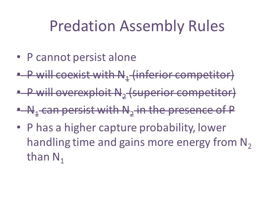 Predation Assembly Rules P cannot persist alone P will coexist with N 1 (inferior competitor) P will overexploit N 2 (superior competitor) N 1 can persist with N 2 in the presence of P P has a higher capture probability, lower handling time and gains more energy from N 2 than N 1