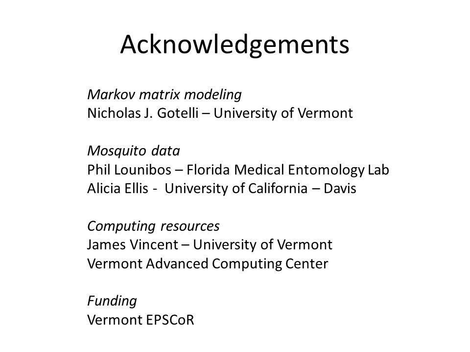 Acknowledgements Markov matrix modeling Nicholas J.