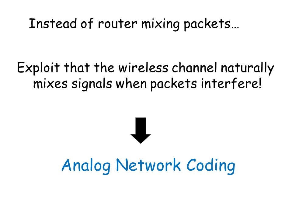 Analog Network Coding Instead of router mixing packets… Exploit that the wireless channel naturally mixes signals when packets interfere!