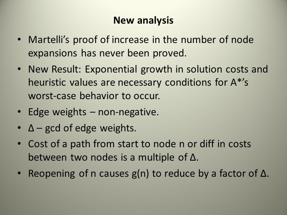 New analysis Martelli's proof of increase in the number of node expansions has never been proved. New Result: Exponential growth in solution costs and