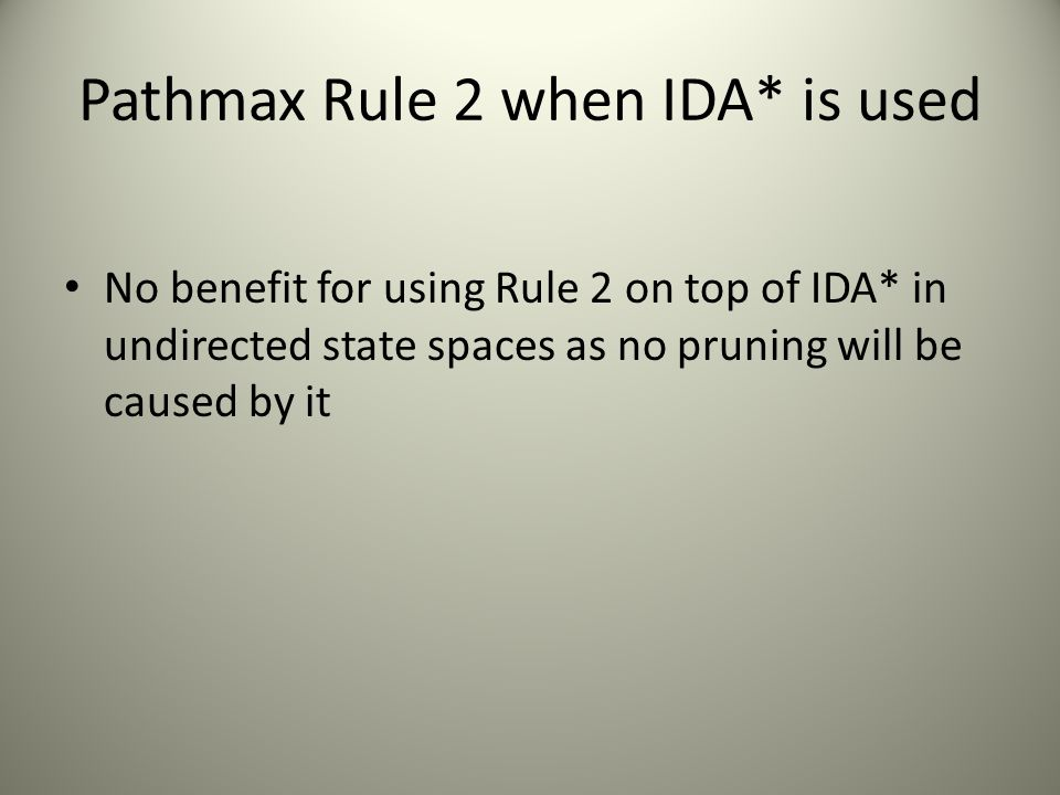 Pathmax Rule 2 when IDA* is used No benefit for using Rule 2 on top of IDA* in undirected state spaces as no pruning will be caused by it