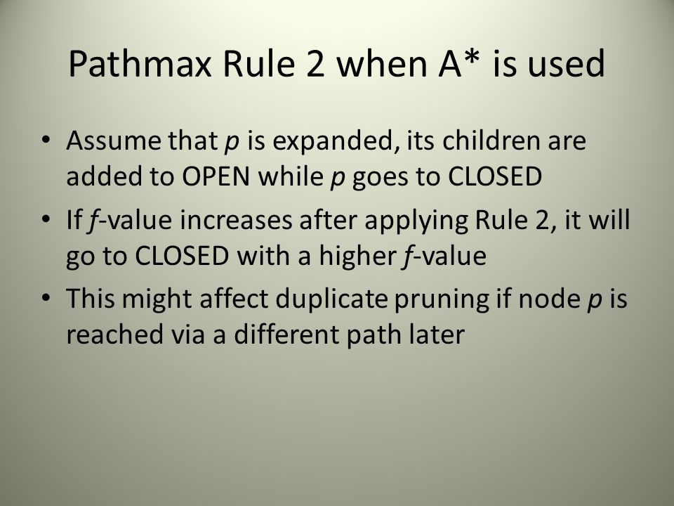 Pathmax Rule 2 when A* is used Assume that p is expanded, its children are added to OPEN while p goes to CLOSED If f-value increases after applying Ru