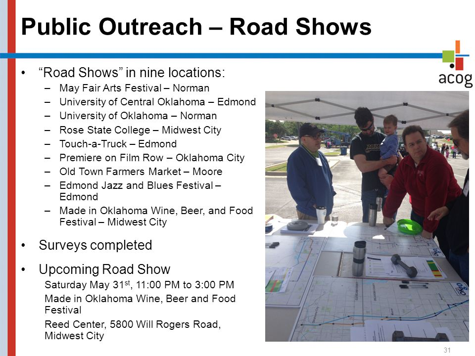 Public Outreach – Road Shows 31 Road Shows in nine locations: –May Fair Arts Festival – Norman –University of Central Oklahoma – Edmond –University of Oklahoma – Norman –Rose State College – Midwest City –Touch-a-Truck – Edmond –Premiere on Film Row – Oklahoma City –Old Town Farmers Market – Moore –Edmond Jazz and Blues Festival – Edmond –Made in Oklahoma Wine, Beer, and Food Festival – Midwest City Surveys completed Upcoming Road Show Saturday May 31 st, 11:00 PM to 3:00 PM Made in Oklahoma Wine, Beer and Food Festival Reed Center, 5800 Will Rogers Road, Midwest City