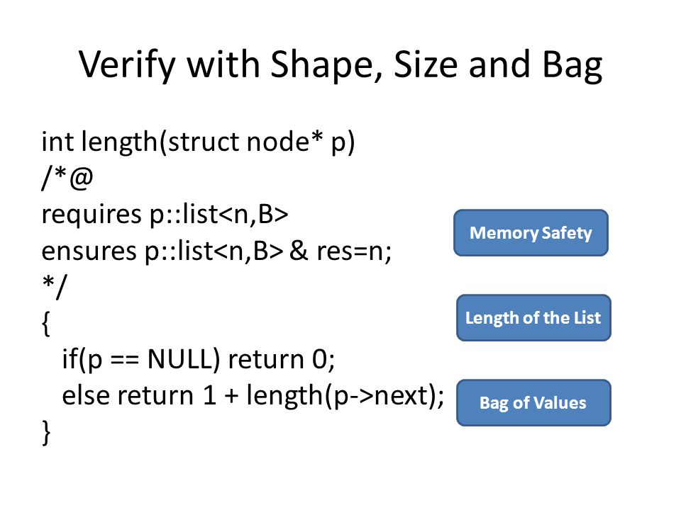 Verify with Shape, Size and Bag int length(struct node* p) /*@ requires p::list ensures p::list & res=n; */ { if(p == NULL) return 0; else return 1 + length(p->next); } Memory Safety Length of the List Bag of Values
